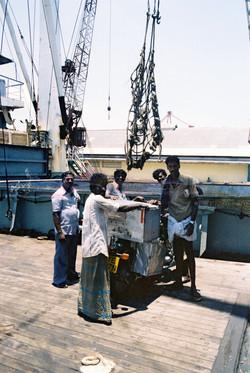 28. Loading bike off boat India
