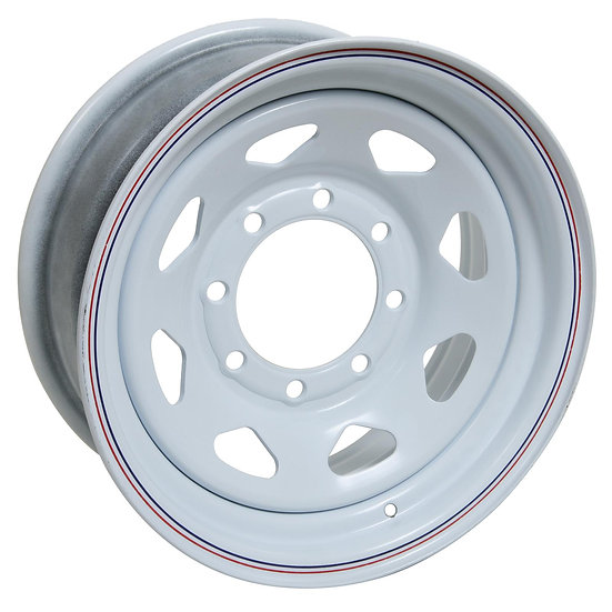"8 SPOKE WHEEL WHITE 16"" X 6"" (BOLT PATTERN: 8X6.5"" OFFSET: 0 PILOT: 4.90"")"