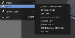 File types that can be exported from blender