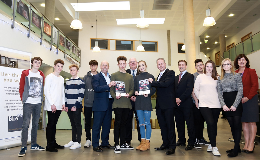 Sixth Form students with Gary Neild from Blue Sky Financial Planning, Will Montgomery , Young Chamber Programme, Mar n McLeman and Business Teacher, Caroline Kurtulan.