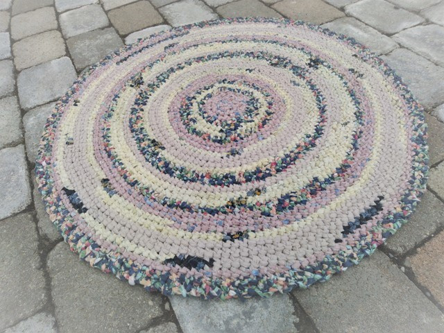 SOLD--Crocheted Round Rag Rug--SOLD