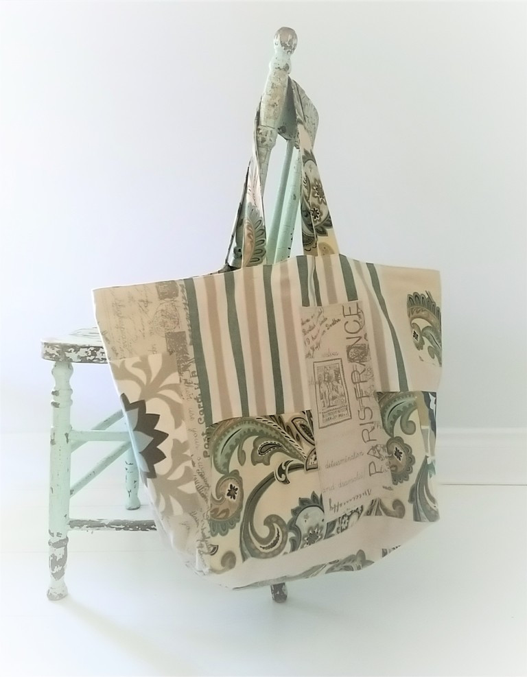 SOLD--Reclaimed Fabric Tote Bag--SOLD
