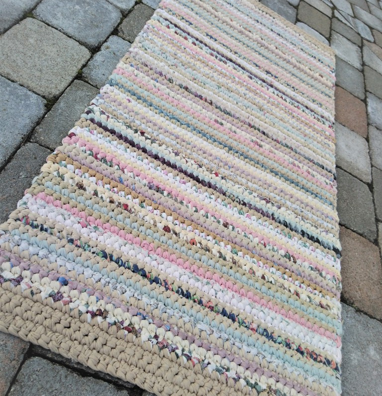 Hand Crocheted Rag Rug Runner
