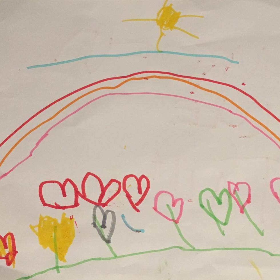 Regenbogen mit Herzen