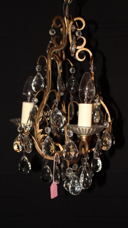 French cage lead crystal chandelier dejauvintage french cage lead crystal chandelier aloadofball Image collections