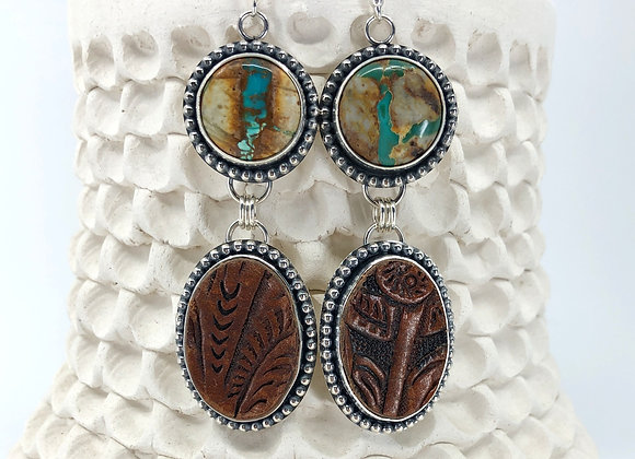 Royston Ribbon Turquoise Earrings with Leather drops