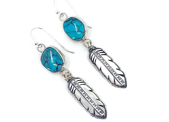 Kingman Turquoise Earrings with Feather drops