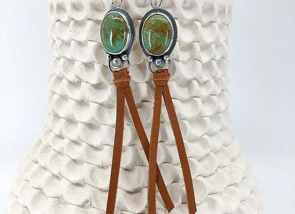 Kingman Turquoise Earrings with Leather dangle
