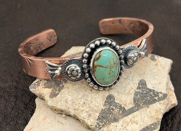 Copper  Cuff with #8 Turquoise