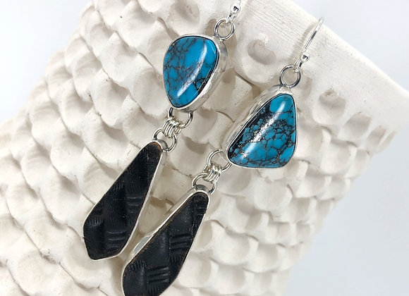Kingman Turquoise Earrings with Leather drops