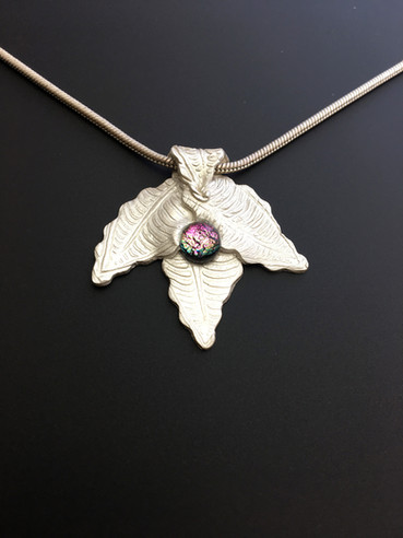 3 LEAVED SILVER PMC PENDANT WITH DICHROIC GLASS IN CENTER.jpg