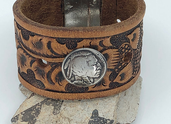 Recycled Leather belt cuff with Indian Head Nickel