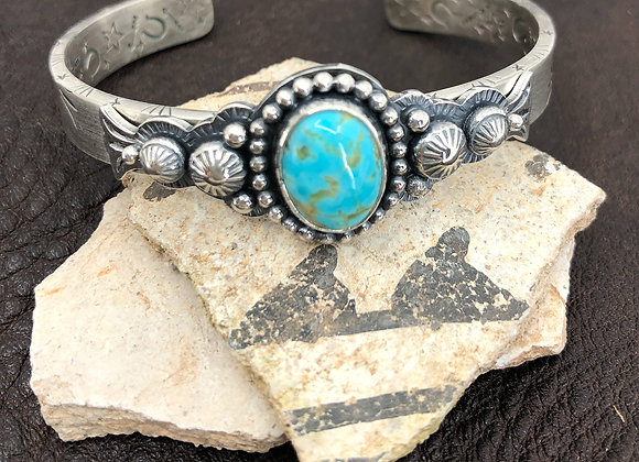 Silver  Cuff with #8 Turquoise