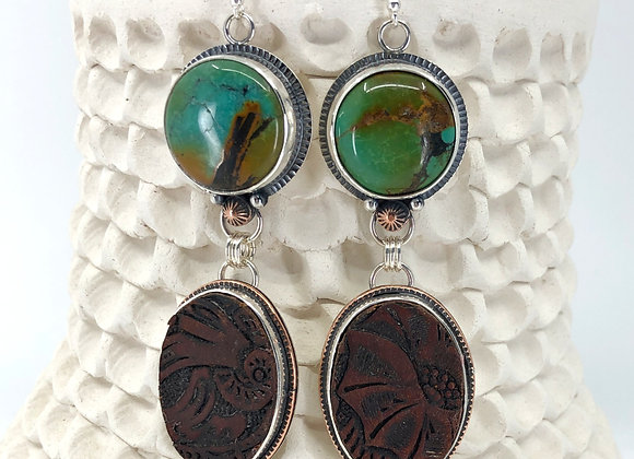 Hubei Turquoise Earrings with Leather drops