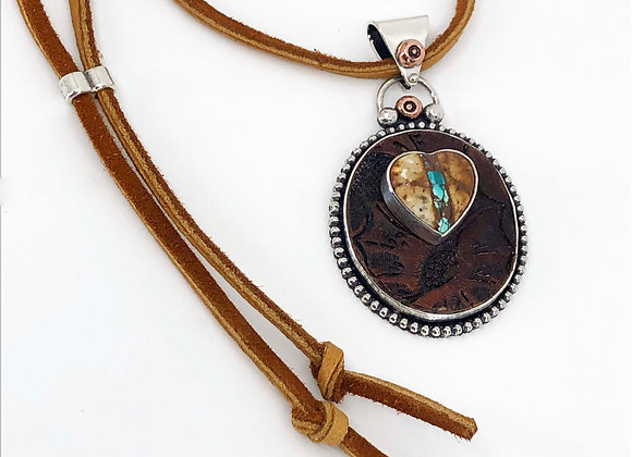 Recycled Belt Leather Pendant with Royston Ribbon Turquoise Heart