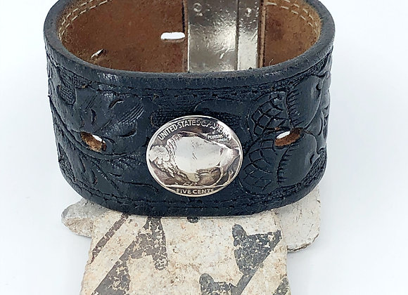 Recycled Leather belt cuff with Buffalo Nickel