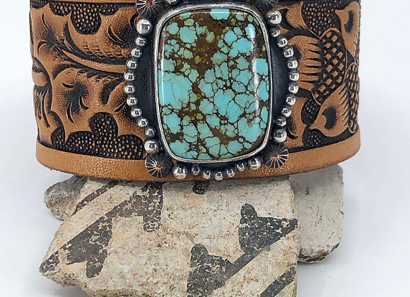 Leather belt cuff with Australian Turquoise