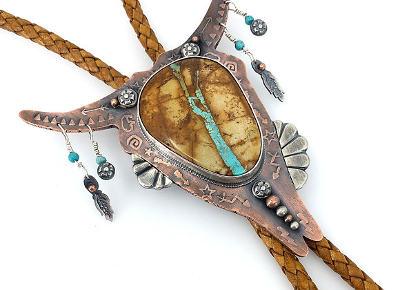 Cow Skull Bolo with Royston RibbonTurquoise