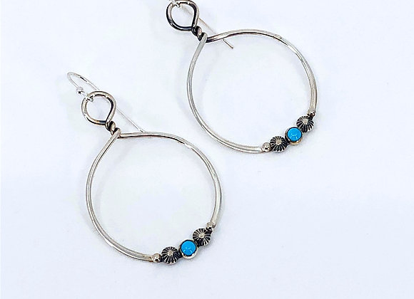 Silver Twisted Hoop Earrings with Sleeping Beauty Turquoise