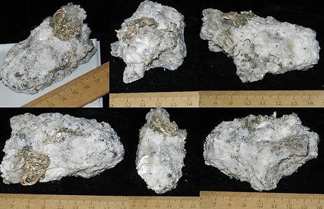 Проволоковидное самородное серебро в кварц-полевошпат-карбонатном агрегате