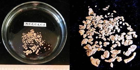 Самородное золото из шлиховых проб