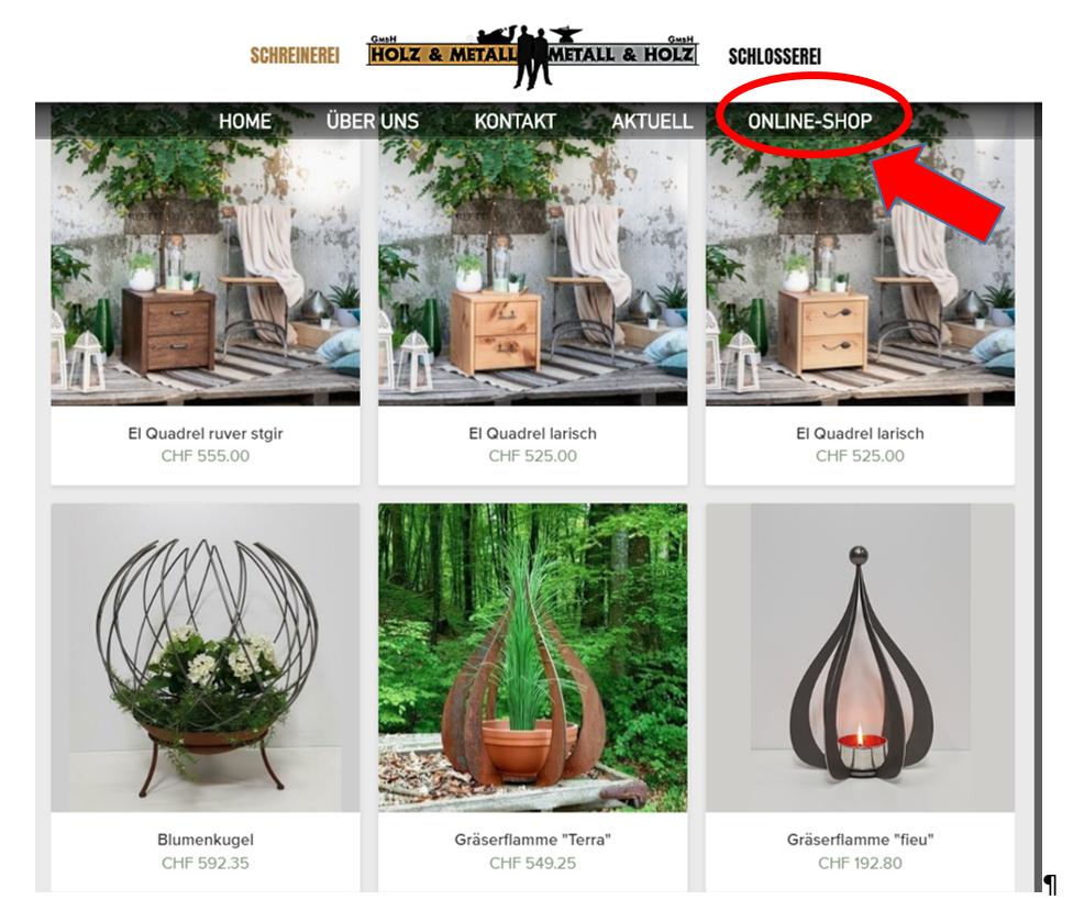 Online-Shop Holz und Metall / Metall und Holz