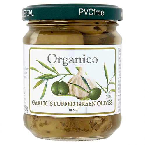Organic Garlic Stuffed Olives - in oil - 190g