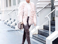 Blush Pink and White - Foux Fur and Chocolate Brown