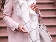Blush Pink and White - Blanket Scarf