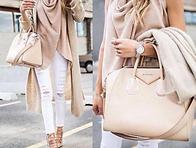 Blush Pink and White - Drapped Knitt Wear