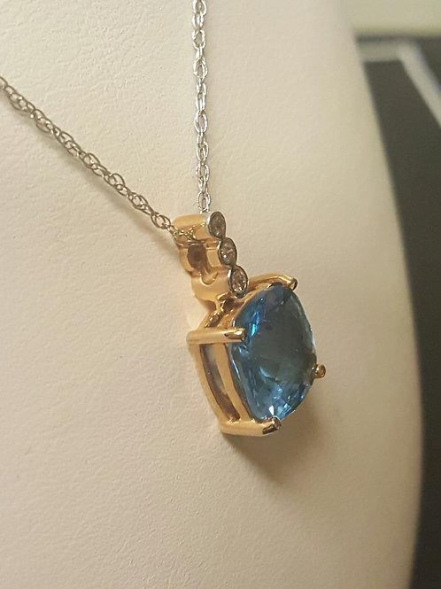 Blue Topaz Diamond Necklace