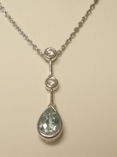 Aquamarine Diamond Tear Drop Necklace