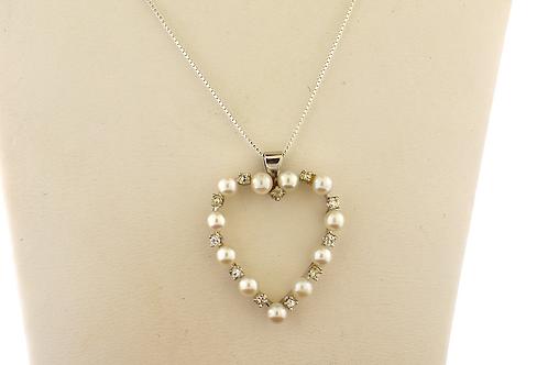 Pearl Diamond Heart Pendant