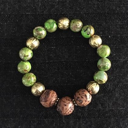 Variegated Green, Gold, Wood Bracelet_1