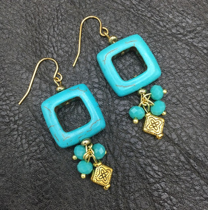 Gold with Turquoise Dangle Earrings_1