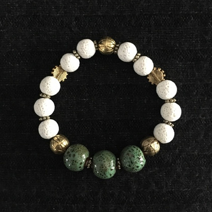 White Pumice with Green & Gold Bracelet _1