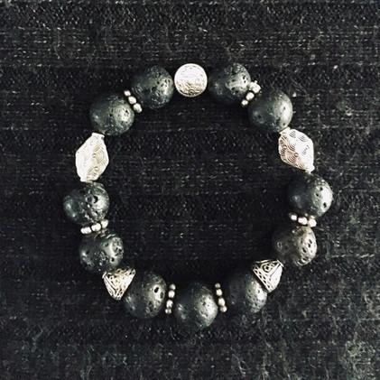 Black Pumice & Silver Bracelet_1