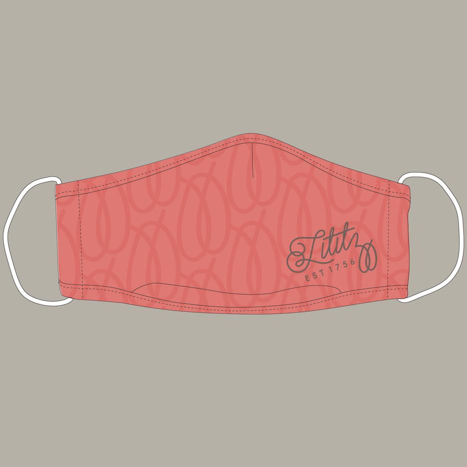 Custom Lititz Pretzel Design Mask in Coral_1