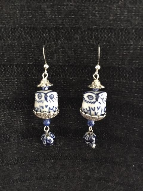 Blue Delft Owl Earrings_1