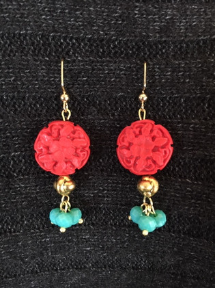 Red with Turquoise Earrings_1