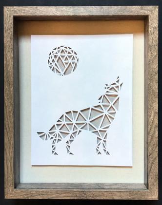 3D Handcut Wolf in Shadowbox_1