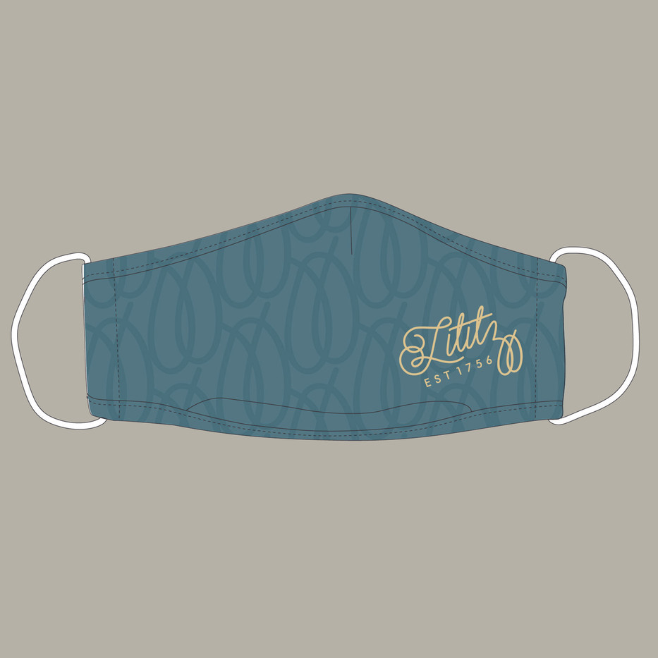 Custom Lititz Pretzel Design Mask in Teal_1