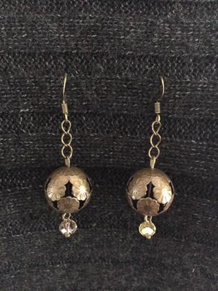 Bronze Dangles with Glass Bead Earrings_1