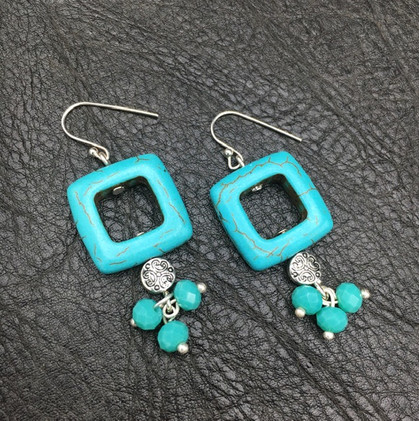 Turquoise with Silver Earrings_1