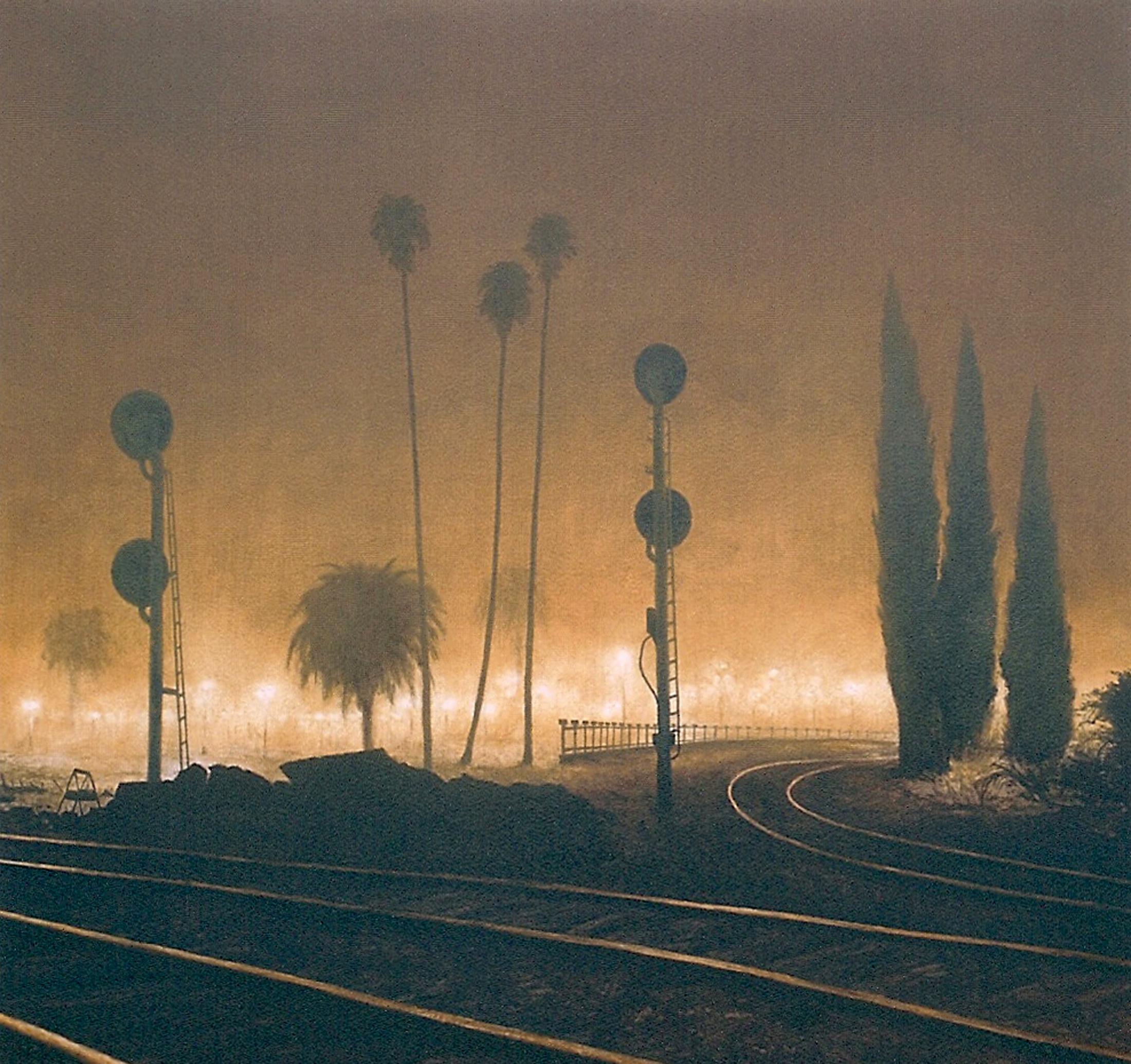 Davis Train Depot, Foggy Night.