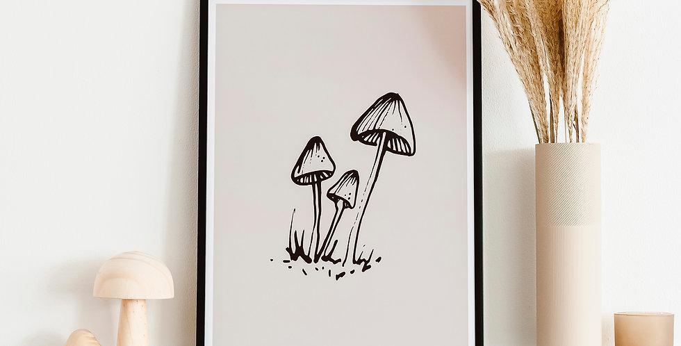 Woodland Toadstool Art Print - Putty