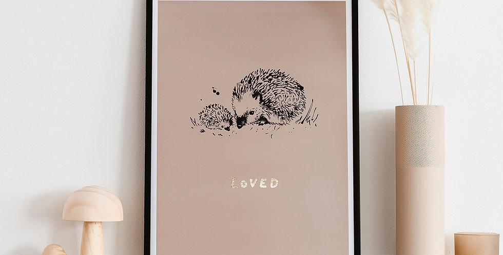 Little Hedgehog Loved  Art Print