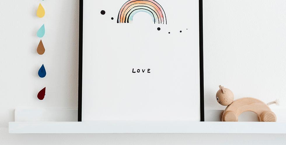 Rainbow Love Print A3