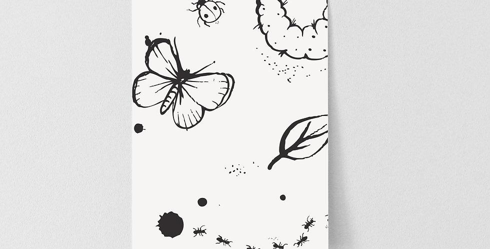 Sample Mini Beasts Wallpaper - White