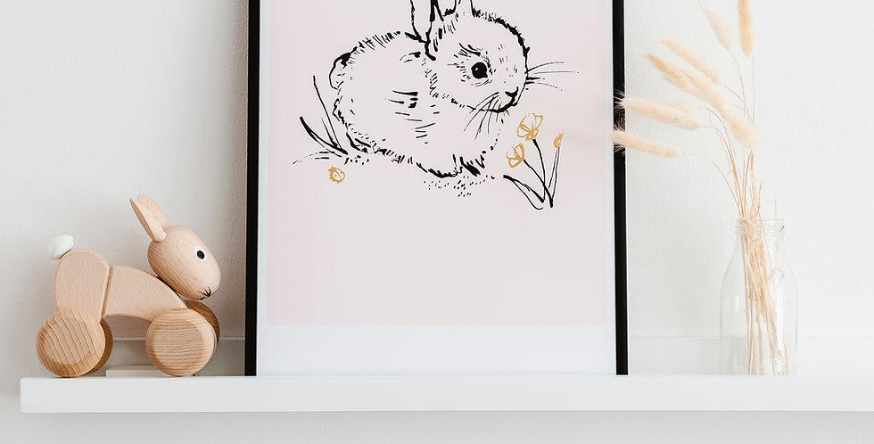 Little Bunny Art Print  - Blush Pink
